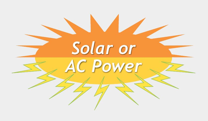 small art violator saying Solar or AC available